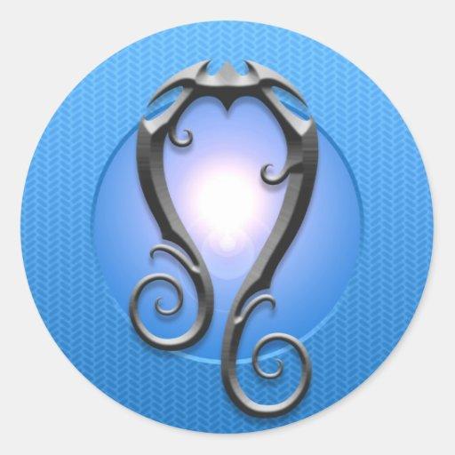 Iron Leo Symbol, blue Round Sticker