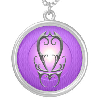 Iron Libra Symbol, purple Round Pendant Necklace