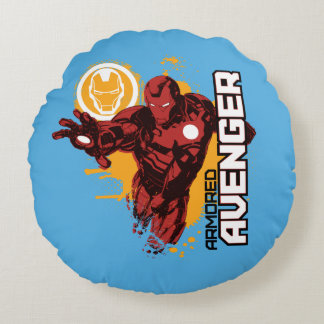 Iron Man Armored Avenger Graphic Round Pillow