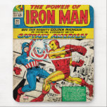 """Iron Man Comic #58 Mouse Pad<br><div class=""""desc"""">Check out this classic Iron Man comic book cover,  featuring Iron Man and Captain America locked in combat with each other!</div>"""