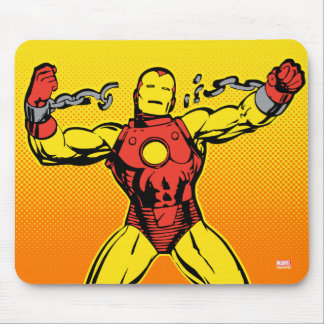 Iron Man Retro Breaking Chains Mouse Pad
