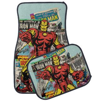 Iron Man Retro Comic Collage Car Mat