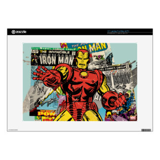 "Iron Man Retro Comic Collage Decals For 15"" Laptops"