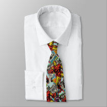 Iron Man Retro Comic Collage Neck Tie