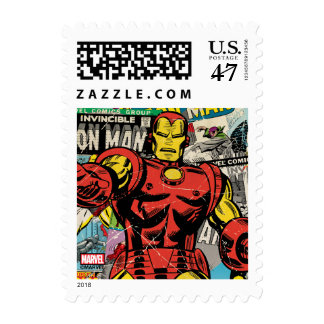Iron Man Retro Comic Collage Postage