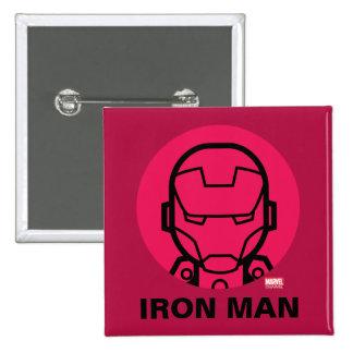 Iron Man Stylized Line Art Icon Button