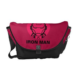 Iron Man Stylized Line Art Icon Messenger Bag