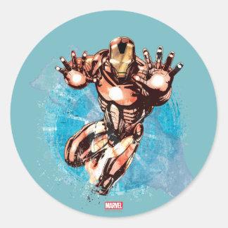 Iron Man Watercolor Character Art Classic Round Sticker