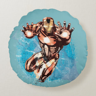Iron Man Watercolor Character Art Round Pillow