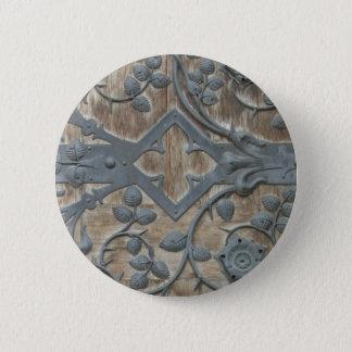 Iron Medieval Lock on Wooden Door Button