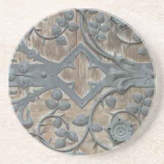 Iron Medieval Lock on Wooden Door Drink Coaster