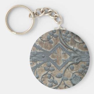 Iron Medieval Lock on Wooden Door Keychain