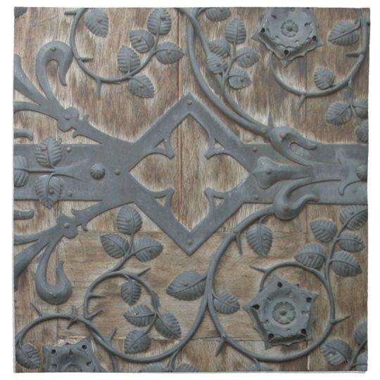 Iron Medieval Lock on Wooden Door Napkin