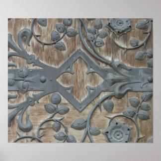 Iron Medieval Lock on Wooden Door Poster