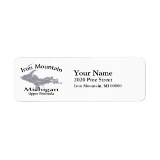 Iron Mountain Michigan Map Design Return Address Return Address Label