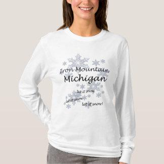 Iron Mountain Michigan Snowflake Snow Ladies T-Shirt