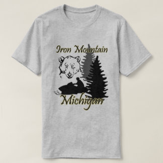 Iron Mountain Michigan Snowmobile Bear Grey SS T-Shirt