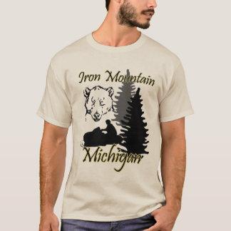 Iron Mountain Michigan Snowmobile Bear Sand T-Shirt