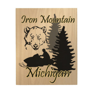 Iron Mountain Michigan Snowmobile Bear Wood Art