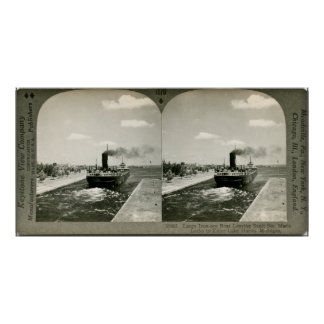 Iron Ore Boat Leaving the Soo - Vintage Stereoview Print