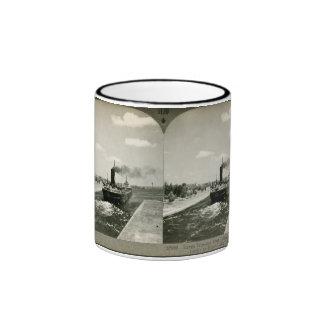 Iron Ore Boat Leaving the Soo - Vintage Stereoview Ringer Mug