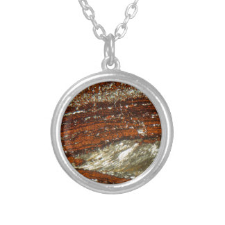 Iron ore under the microscope silver plated necklace