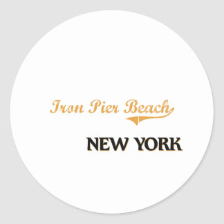 Iron Pier Beach New York Classic Round Sticker