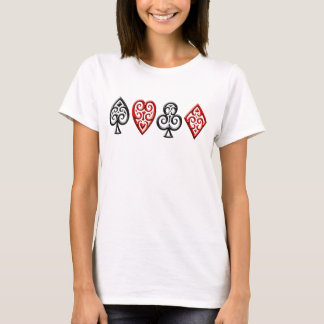 Iron Playing Card Suits, horizontal T-Shirt