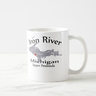 Iron River Michigan Heart Map Design Mug