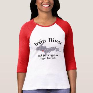 Iron River Michigan Heart Map Design Raglan T-Shirt