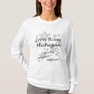 Iron River Michigan Snowflake Snow Ladies T-Shirt