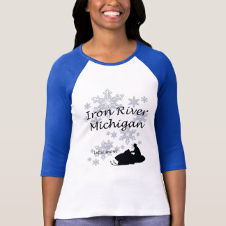 Iron River Michigan Snowmobile Snow Ladies T-Shirt