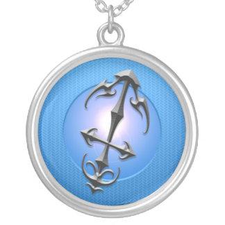Iron Sagittarius Symbol, blue Round Pendant Necklace