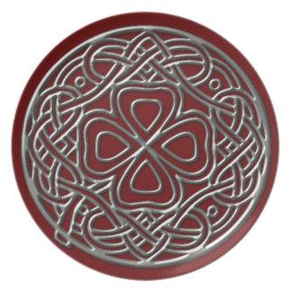 Iron Shamrock Burgundy Melamine Plate