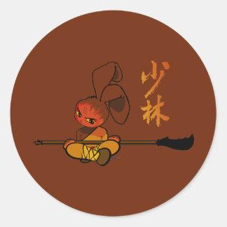 iron shaolin bunny kwan dao classic round sticker