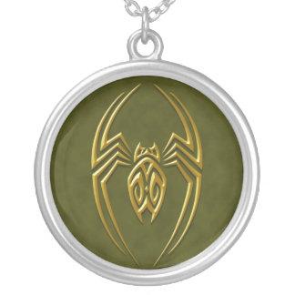 Iron Spider – golden green Round Pendant Necklace