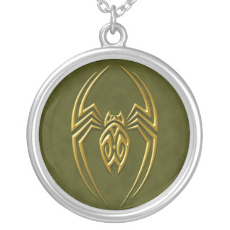 Iron Spider – golden green Silver Plated Necklace