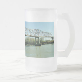 Iron Truss Bridge Frosted Glass Beer Mug