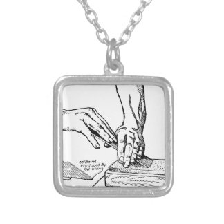 Iron Whetting Illustration Silver Plated Necklace