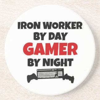 Iron Worker by Day Gamer by Night Drink Coaster