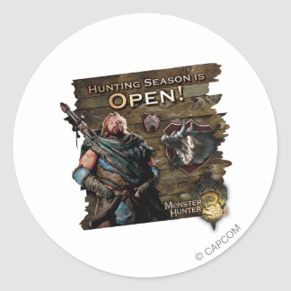 Ironbeard McCullough, Hunting season is open! Classic Round Sticker