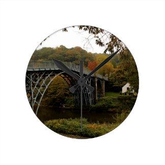 Ironbridge in Autumn Round Wallclocks