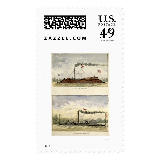 Ironclads Essex and Choctaw by Stouffer 1864 Postage