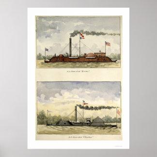 Ironclads Essex y Choctaw por Stouffer 1864 Póster
