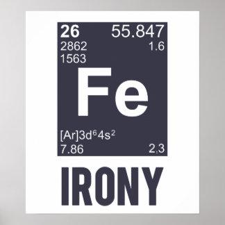 Ironía irónica del FE del elemento químico Poster