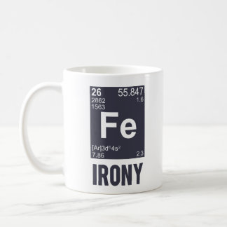 Ironía irónica del FE del elemento químico Taza