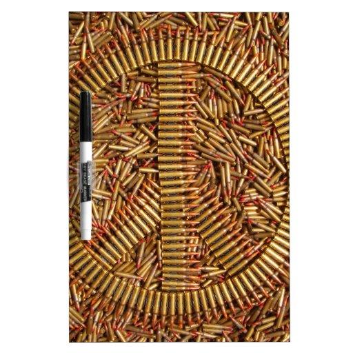 Ironía, signo de la paz, balas, munición pizarra