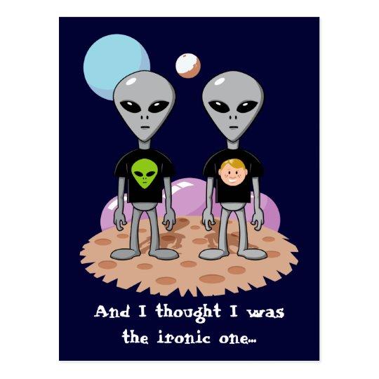Ironic Alien Postcard