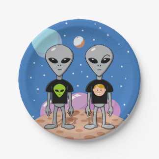Ironic Aliens 7 Inch Paper Plate