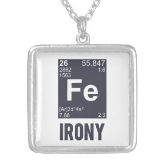 Ironic Chemical Element FE Irony Silver Plated Necklace